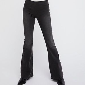 Black Free People Penny Pull On Flared Leg Jeans